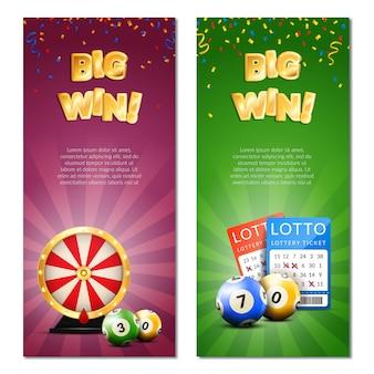 Banners verticais de loteria de bingo