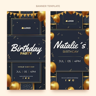 Banners verticais de luxo realistas de aniversário de ouro