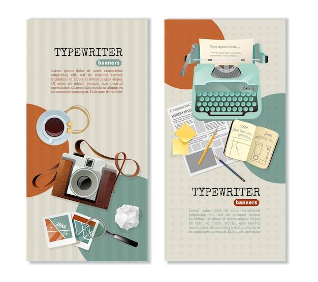 Banners verticais de máquina de escrever jornalista