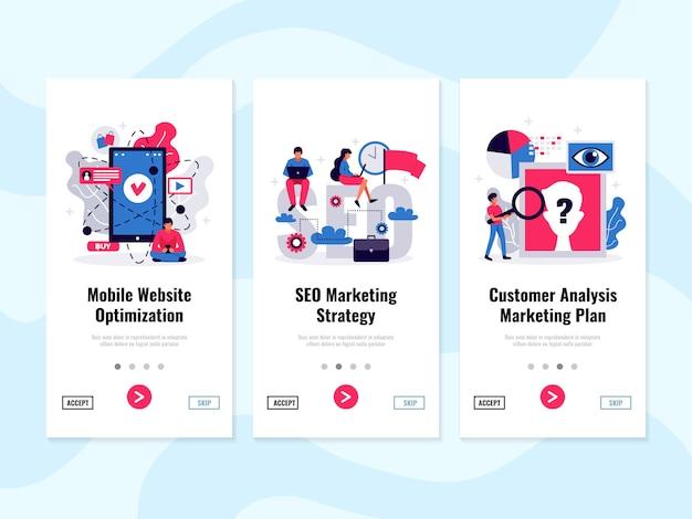 Banners verticais de marketing digital com símbolos de análise de cliente plano isolados