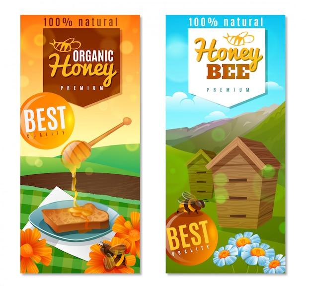 Banners verticais de mel orgânico
