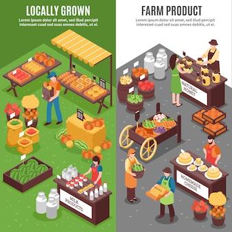 Banners verticais de mercado orgânico