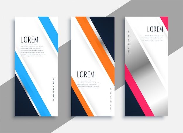 Banners verticais de negócios modernos com espaço de texto