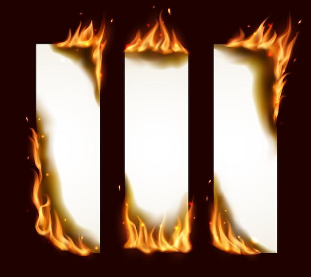 Banners verticais de papel queimando