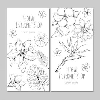 Banners verticais de plantas exóticas desenhadas à mão