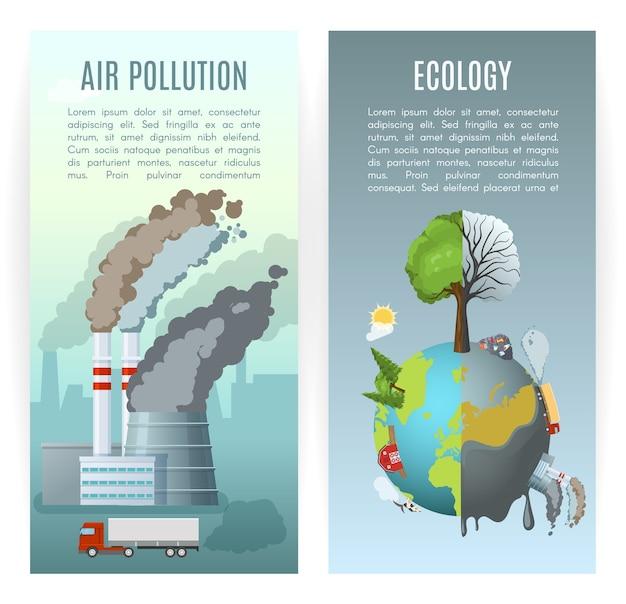 Banners verticais de poluição ambiental