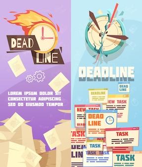 Banners verticais de prazo de trabalho de negócios