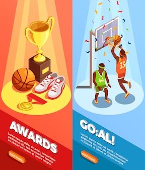 Banners verticais de prêmios de basquete