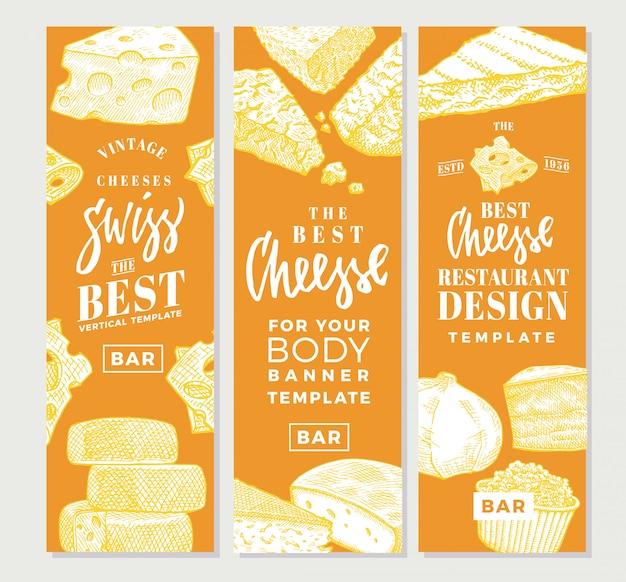 Banners verticais de produtos alimentícios desenhados à mão