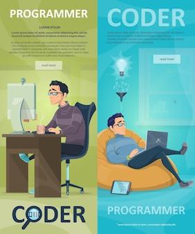 Banners verticais de programação de tecnologia