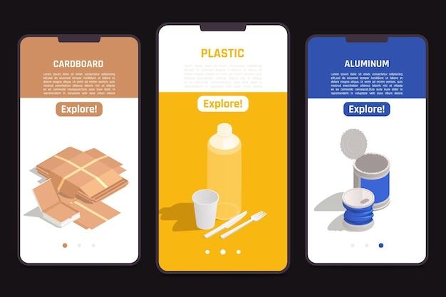 Banners verticais de reciclagem de lixo com papelão, plástico e alumínio