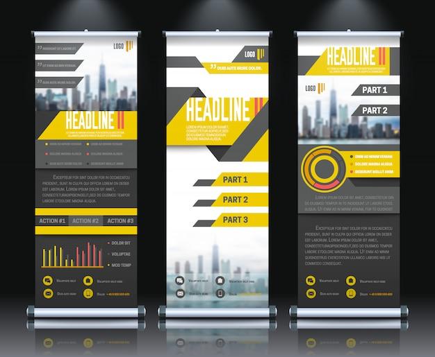 Banners verticais de rollup de relatório definir ilustração vetorial realista isolado