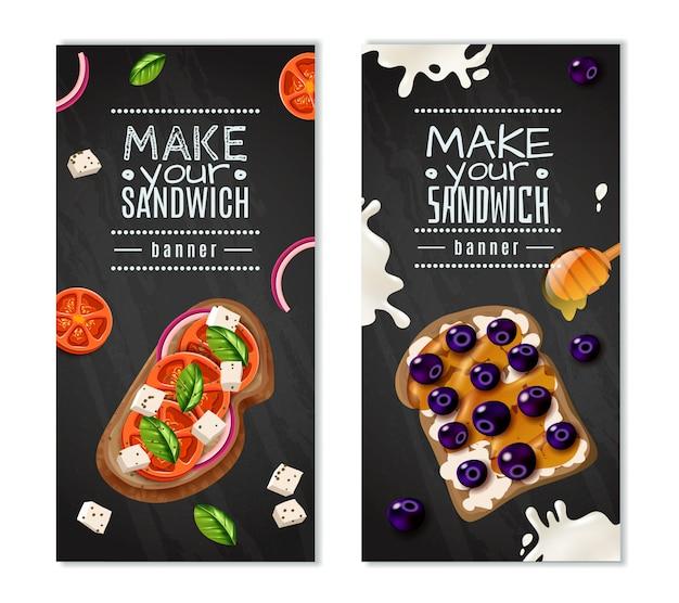 Banners verticais de sanduíches