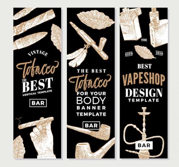 Banners verticais de tabaco vintage