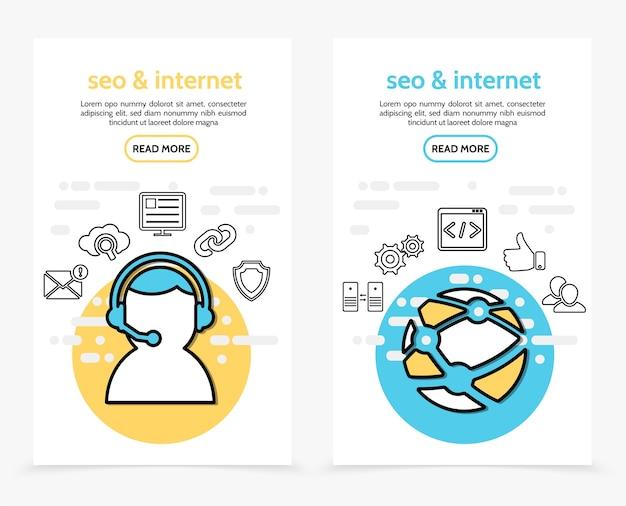 Banners verticais de tecnologia da internet