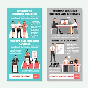 Banners verticais de treinamento de negócios