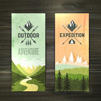 Banners verticais de turismo definidos
