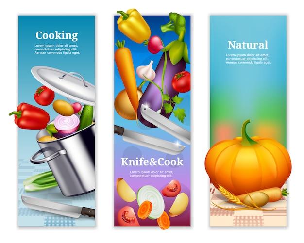 Banners verticais de vegetais naturais