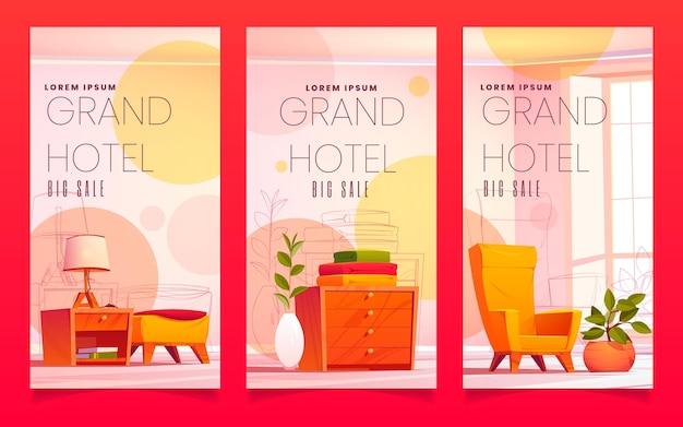 Banners verticais de venda de grandes hotéis