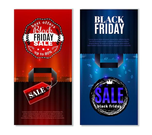 Banners verticais de venda de sexta-feira negra