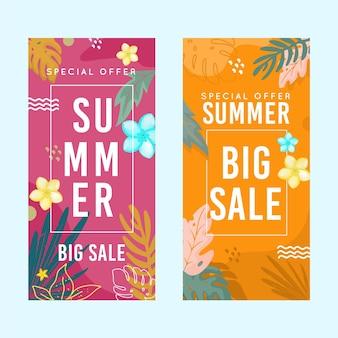 Banners verticais de venda de verão