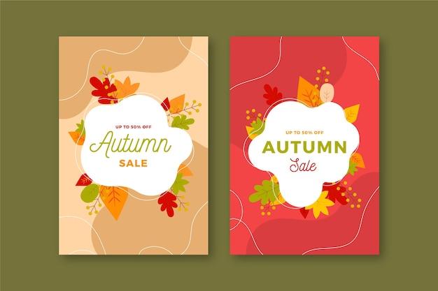 Banners verticais de venda outono