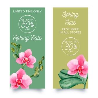 Banners verticais de venda primavera aquarela