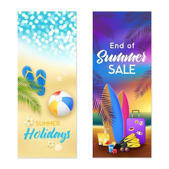 Banners verticais de verão praia