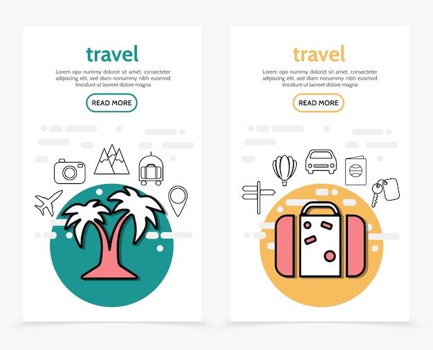 Banners verticais de viagens