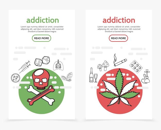 Banners verticais de vícios nocivos com seringas de ossos cruzados crânio dados pulmões doentes tabaco de maconha
