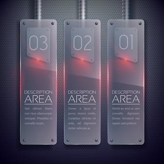 Banners verticais de vidro comercial