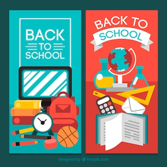 Banners verticais de volta à escola