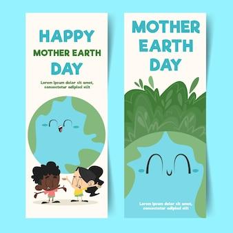 Banners verticais do dia da mãe terra desenhados à mão
