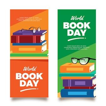 Banners verticais do dia mundial do livro