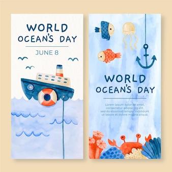 Banners verticais do dia mundial dos oceanos