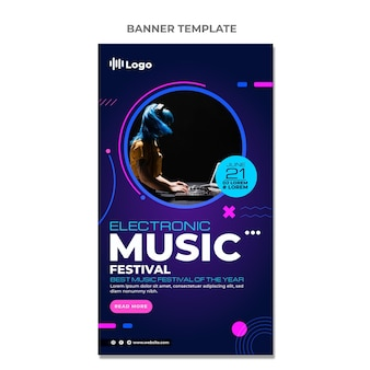 Banners verticais do festival de música de meio-tom gradiente