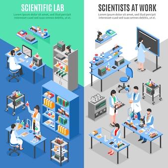 Banners verticais do laboratório de ciências