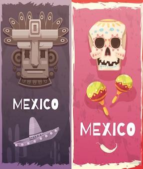 Banners verticais do méxico