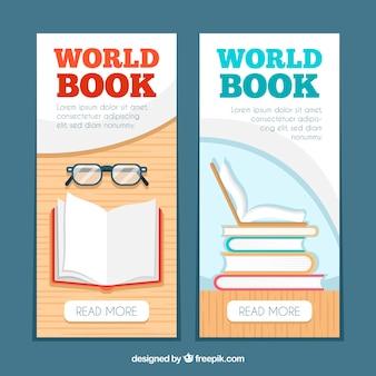 Banners verticais do mundo livro dia em design plano