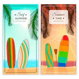 Banners verticais do resort de surf