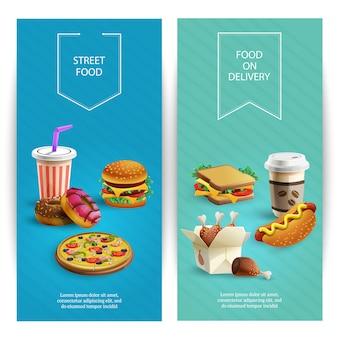 Banners verticais dos desenhos animados conjunto com deliciosos pratos de fast-food, restaurante de fast food