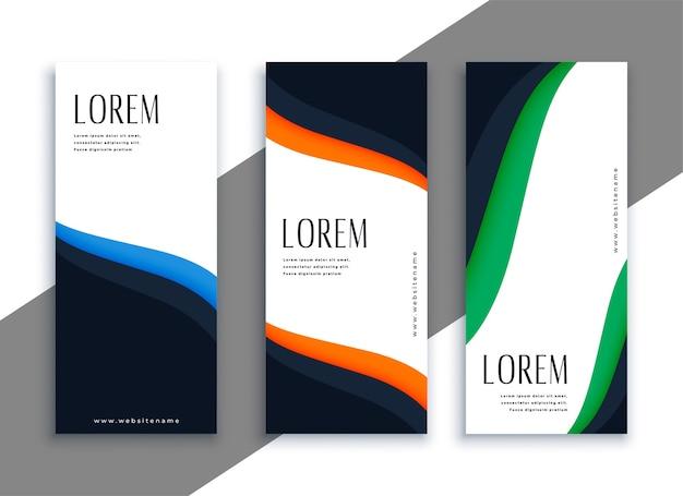 Banners verticais elegantes com formas onduladas