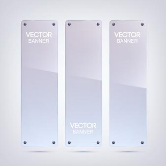 Banners verticais em branco brilhantes com superfície de vidro