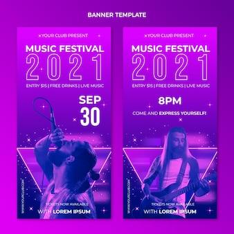 Banners verticais em gradiente colorido de festival de música