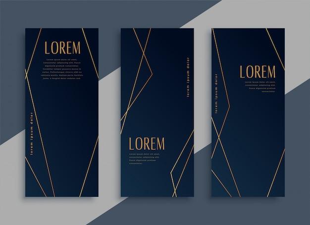 Banners verticais escuros com linhas geométricas douradas