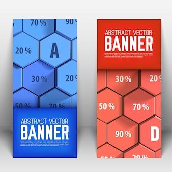 Banners verticais geométricos abstratos de negócios com hexágonos 3d azuis e vermelhos e porcentagem isolada