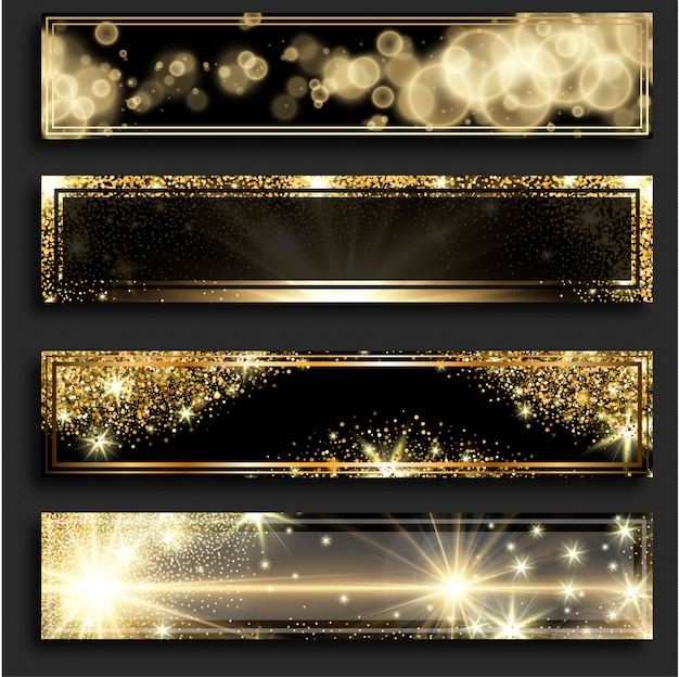 Banners verticais horizontais brilhantes dourados