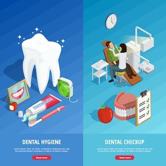 Banners verticais isométrica de odontologia