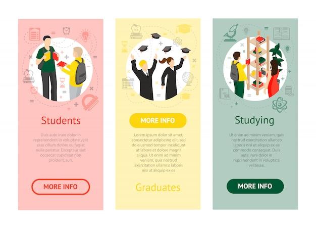 Banners verticais isométricas da faculdade universitária