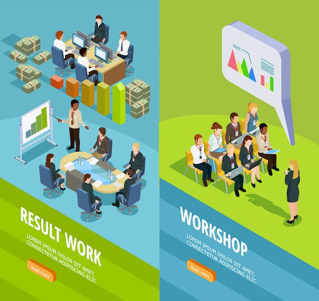 Banners verticais isométricas de aprendizagem de negócios